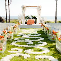 Flower petal-lined wedding ceremony. Omg I love this runway to the altar. Aisle Flowers, Wedding Flowers, Purple Wedding, Altar, Summer Wedding, Dream Wedding, Wedding Fun, Wedding Bells, Wedding Ceremony Decorations