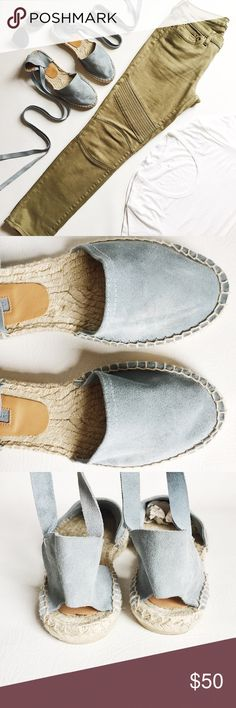 Topshop Kanga Suede Espadrilles Topshop Kanga Suede Espadrilles in light blue featuring wrap tie.  Beautiful spring color!  Like new condition, only worn a few times.  Original box not included.  Euro size 40, equal to U.S. Size 9.5 but these run smaller like Size 9.  Last pic is stock photo, used to show fit. Topshop Shoes Espadrilles