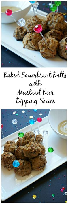 Baked Sauerkraut Balls with Mustard Beer Dipping Sauce: A healthier version of a classic appetizer. Baked instead of fried and full of meat and tangy sauerkraut--no bread crumbs needed. Served with a side of mustard beer dipping sauce, these sauerkraut balls are guaranteed to be a welcomed remix of a classic recipe. Paleo. Gluten-Free.