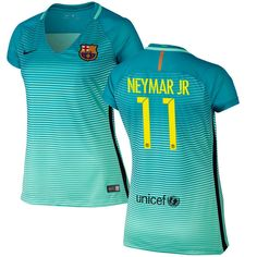 Neymar Santos Barcelona Nike Women's 2016/17 Replica Third Jersey - Green - $71.24