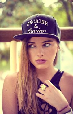 Cocaine & Caviar snapback hot girl chick model swag hat crooks and castles Hip Hop Fashion, Dope Fashion, Urban Fashion, Girl Fashion, Cap Girl, Girl Swag, Thug Life, Caviar, Swagg