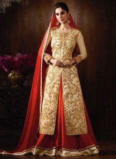 Beige Red Embroidery Work Georgette Chiffon Designer Fancy Anarkali Long Suit         #Anarkali #Churidar #Pakistani #Suit #Salwar #Bollywood       http://www.angelnx.com/Salwar-Kameez