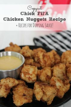 If you love Chick Fil'A Chicken Nuggets, you have to try this copycat recipe!  It even includes a recipe for their signature Dipping Sauce!