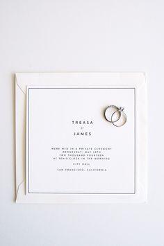 modern letterpress elopement announcement by In Haus Press