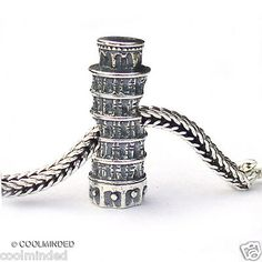Leaning Tower of Pisa Italy Landmark Travel Bead Charm 925 Sterling Silver fits Pandora, Troll and more!