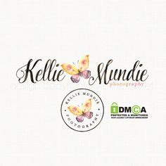butterfly logo design watercolor premade by stylemesweetdesign