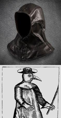 Le médecin de peste capuche en cuir noir vêtement
