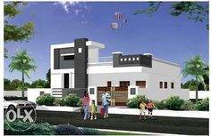 Com Bungalow House Plans, Bungalow House Design, Bedroom House Plans, Modern House Plans, Modern House Design, House Front Wall Design, Single Floor House Design, Front Design, Building Elevation