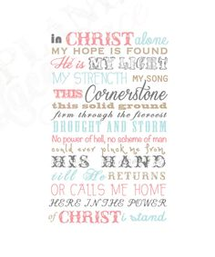 In Christ Alone Poster by plankandlaceplace on Etsy Song Quotes, Bible Quotes, Bible Verses, Scriptures, Worship Songs, Praise And Worship, Christian Life, Christian Quotes, Christian Music