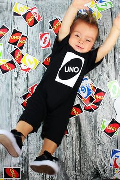 UNO Birthday Romper Black and White Perfect by birthdaycouture