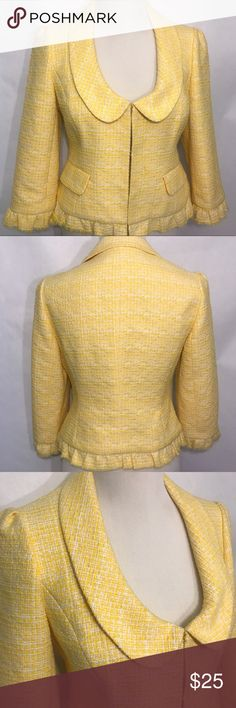 Loft Yellow Tweed Blazer perfect for spring 🌸👒🌷 Bright and fun color for spring  Yellow tweed Fully lined Excellent used condition  Eyehook closures  Size has been removed so measurements are in pictures in my opinion this would fit a size 4-6 best but please review measurements to ensure fit.   Happy Spring 🌷👒💐 LOFT Jackets & Coats Blazers