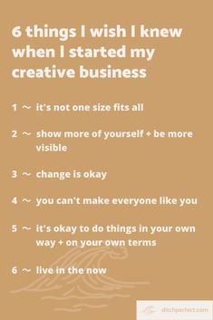 6 things I wish I knew when building my creative business — Ditch Perfect Business Ideas, Creative Business, I Wish I Knew, Being Good, Lessons Learned, How To Start A Blog, I Know, Online Business, Im Not Perfect