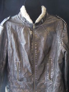 A.N.A.  BLACK Bronze METALLIC FAUX LEATHER JACKET,Bomber COAT SZ XL, Gently used #ANAANewApproach #BasicCoat