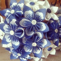 www.flairforfleur.co.uk affordable paper floral arrangements. Royal Blue and White Paper lace bridal bouquet. Paper Flowers Wedding, Origami Flowers, Paper Flowers Diy, Flower Crafts, Fabric Flowers, Paper Doilies, Paper Lace, White Paper, Diy Paper