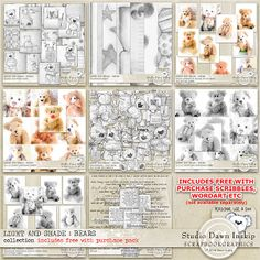 LIGHT AND SHADE : BEARS – COLLECTION incl FWP Element Pack By Studio Dawn Inskip at Scrapbookgraphics http://shop.scrapbookgraphics.com/Light-and-Shade-Bears-Collection-incl-FWP.html