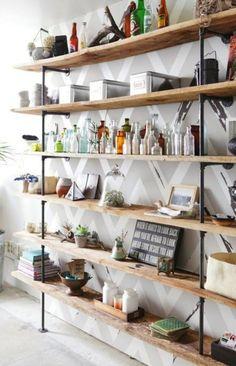 Business Casual .//. Industrial Shelving  http://sylvieliv.blogspot.ca/2012/05/industrial-rustic-shelf-tutorial.html