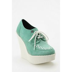 T.U.K. Suede Lace-Up Platform Wedge Creeper ($95) ❤ liked on Polyvore