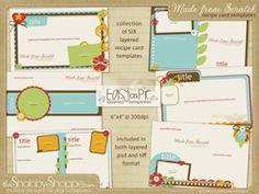 Recipe card templates - Made from scratch Recipe Card Boxes, Cookbook Recipes, Cookbook Ideas, Card Templates, Recipe Templates, Family Recipe Book, Printable Recipe Cards, Recipe Binders, Scrapbook Cards