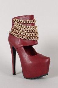 Privileged Chain Up Ankle Cuff Stiletto Platform Pump