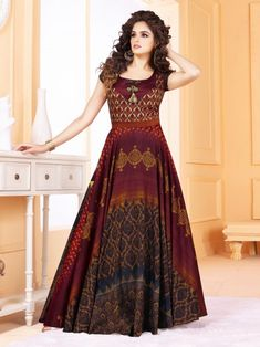 Finest craftmanship of embellishments exhibited in this ready to wear multicolour tussar silk gown suit. The most fascinating patterns done with digital printed work on this special eid ul-fitr gown suit #inddus #womenclothing #ethnicwear #indianclothing #eidsale #eidshopping #eidclothing #eiddiscount #eidoffers #gown #lehengas #anarkalisuits #readymadesuits #womendresses #usa #uk #canada #australia #newzealand #mauritius