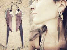 tribal LEATHER FEATHER  EARRINGS grey copper gold by SiamicWear, €15.00