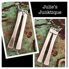 Stamped Vintage Upcycled Fork Tine Jewelry Pendant Charm - Bell Bottom Blue Jeans by JuliesJunktique on Etsy
