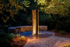 Basalt column Water Feature with sitting wall and LED Lighting