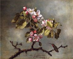 The Athenaeum - HEADE, Martin Johnson American Hudson River School (1819-1904)_Apple Blossoms and Hummingbird- 1875