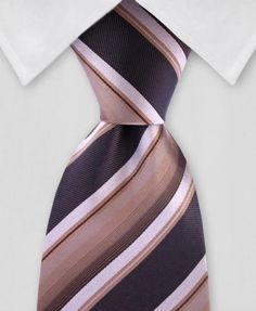 9ce92d61 Variegated browns adorn this catchy striped, silk tie that is perfect for  the office.