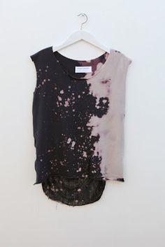 (4) diy shirt | Tumblr-- Make a V, then I'll like. Maybe bleach and dye again? I'd like the bleached side to be light blue.