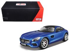 Mercedes AMG GT Metallic Blue Exclusive Edition 1/18 Diecast Model Car by Maisto - Brand new 1:18 scale diecast car model of Mercedes AMG GT Metallic Blue Exclusive Edition die cast car model by Maisto. Brand new box. Rubber tires. Exclusive Collection Features:. Steerable front wheels that turn with the steering wheel. More coats of paint for for richer colors. Unique collector's box (Closed box with foam on all sides) . Hood, doors and trunk open. Diecast metal bodies with some plastic…