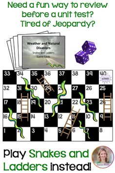 Play snakes and ladders with your students to review for tests! From Science Rocks