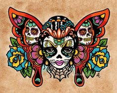 Day of the Dead Sugar Skull BUTTERFLY Old School by illustratedink, $14.50