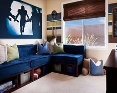 Teen Boy Bedroom Design, Pictures, Remodel, Decor and Ideas - hahaha my bf would love this room (except maybe a MotoGP photo instead of football)