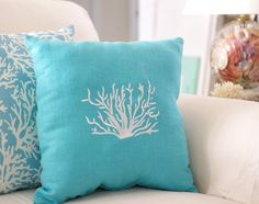 Coastal Decor Ideas, Nautical & Beach Decorating & Crafts: New Coastal Decorations and Sales I have this coral pillow material on my chairs,- love it!!!