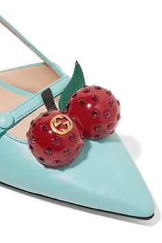 Gucci - Embellished Leather Pumps - Turquoise - IT38.5