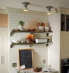 Subway tiles with open shelving