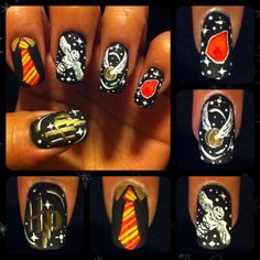 Harry Potter nails Anna this is for you! Harry Potter Nails Designs, Harry Potter Makeup, Harry Potter Nail Art, Harry James Potter, Harry Potter Fandom, Love Nails, My Nails, Nails Polish, Cool Nail Designs