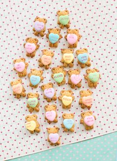 Teddy Bear Graham Cookies Holding Conversation Hearts. Easy and cute Valentine's Day treat!