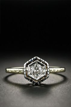 This Moissanite engagement ring Vintage Unique diamond Cluster is just one of the custom, handmade pieces you'll find in our engagement rings shops. Two Tone Engagement Rings, Deco Engagement Ring, Vintage Engagement Rings, Hexagon Engagement Ring, Vintage Diamond Rings, Antique Rings, Vintage Rings, Vintage Art, Wedding Jewelry