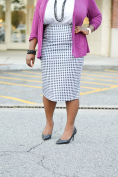 Lots of Sass Blog + Dainty Jewell's Gingham Pencil Skirt - modest work wear