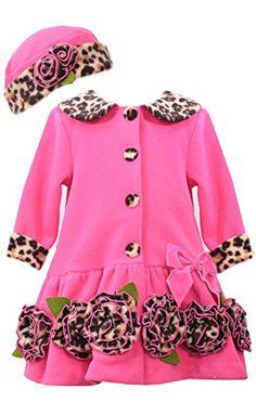 TODDLER GIRLS 2T-4T Fuchsia Leopard Trim Rosette Border Fleece Coat/Hat Set, Fuchsia, Bonnie Jean