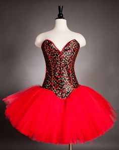 Size Small red and black cherry rockabilly corset tutu dress