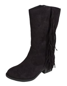 Lustacious Women's Round Toe Mid-calf Western Block Heel Boots with Side Fringe and Side Zipper -- Details can be found by clicking on the image.