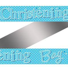 Blue Polka Dot Christening Banner