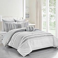Kensie Chartreux Comforter Set Comforter Sets Grey And White