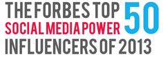 Forbes magazine named me one of the Top 50 Social Media Influencers of 2013.