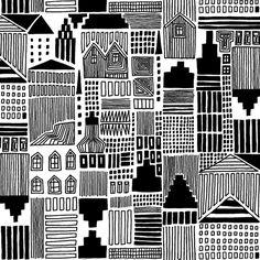 Marimekko Onnea Etsimässä White/Black Fabric - Marimekko Cotton Fabrics Fabric Postcards, Black And White Doodle, Graphic Patterns, Black And White Google, Black White Art, Pattern Illustration, Graphic Design Pattern, City Prints, Black And White Landscape