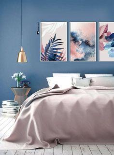 Set of 3 Wall Art Botanical Prints Navy Blue Leaf Blush Etsy Budget Bedroom, Home Decor Bedroom, Bedroom Ideas, Bedroom Furniture, Guest Bedrooms, Master Bedrooms, Navy Bedrooms, Master Suite, Small Apartment Decorating