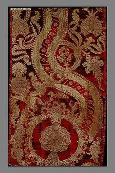During the early fifteenth century, European velvet design was largely characterized by the use of voided patterns formed where the pile was absent.  In the second half of the century, technical innovations led to the production of increasingly complex velvets in which the richness of design and texture were achieved through the use of different heights of cut pile and of supplementary metal threads